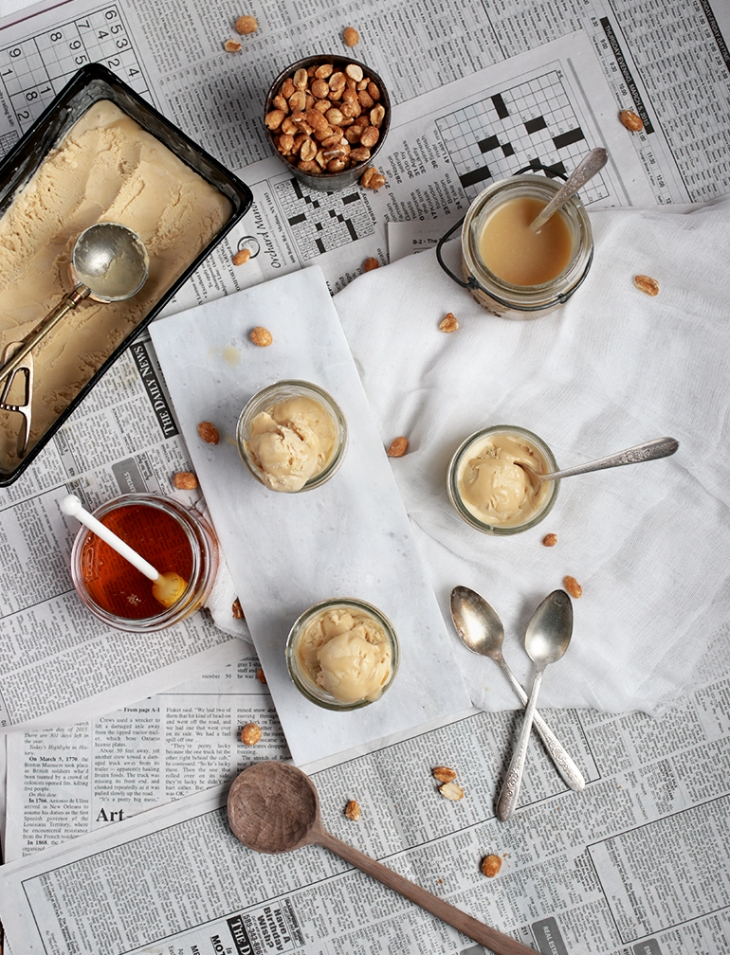 Peanut Butter Ice Cream with Salty Honey Swirl @themerrythought