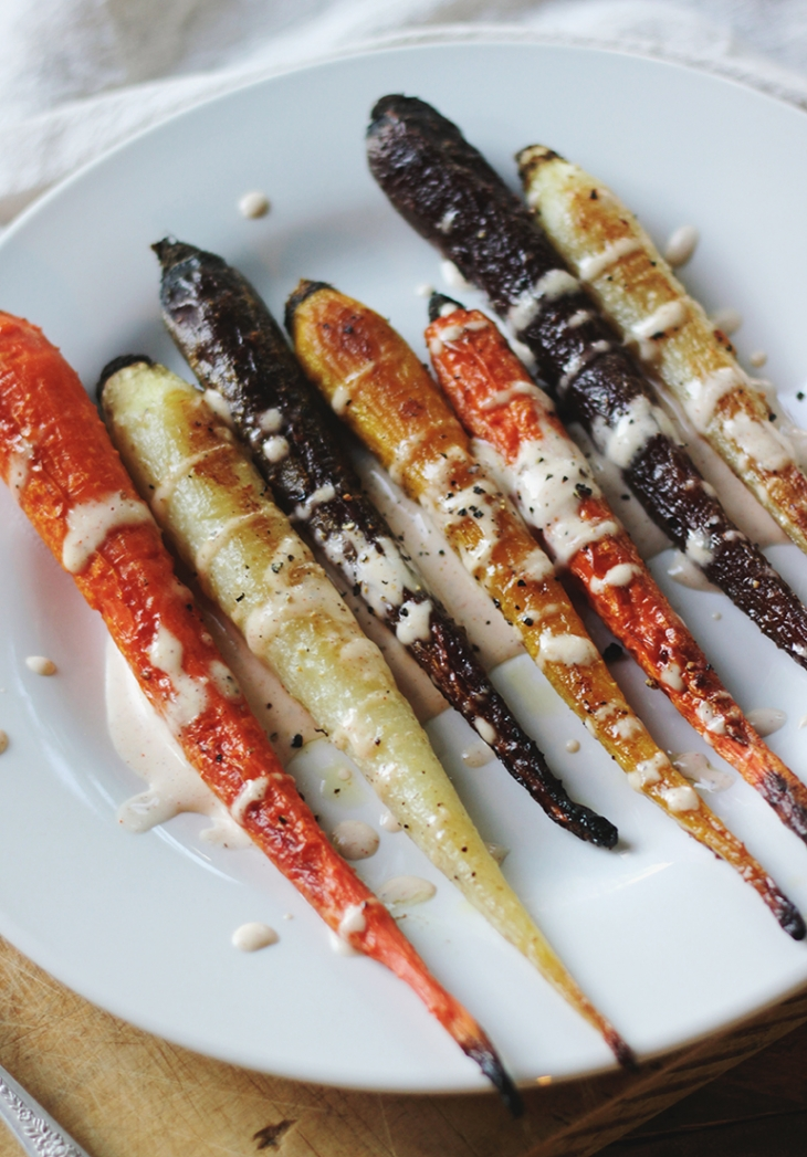 Roasted Carrots and Garlic Buttermilk Dressing @themerrythought