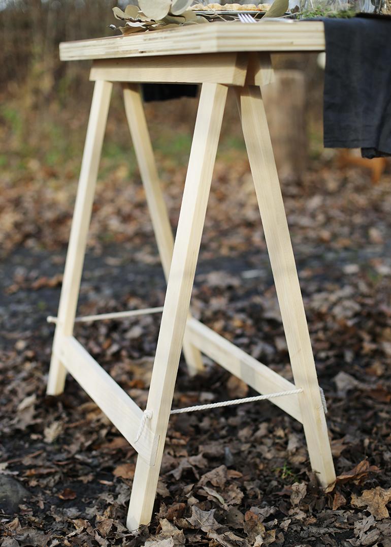 Diy Sawhorse Leg Plywood Table The Merrythought