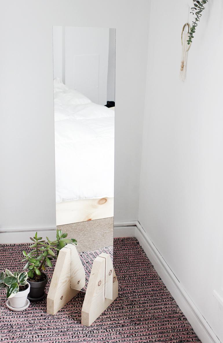 Diy minimal floor mirror the merrythought for Diy minimalist decor