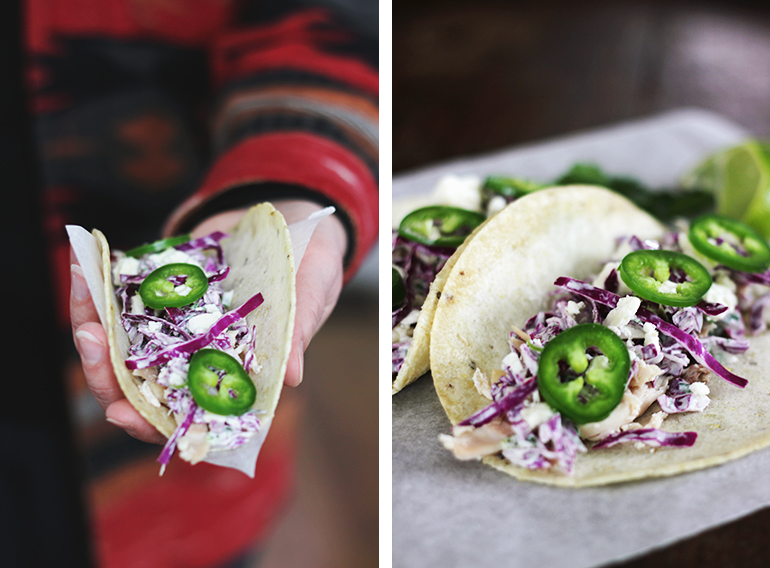 Chicken + Cabbage Tacos with Cilantro Cream @themerrythought