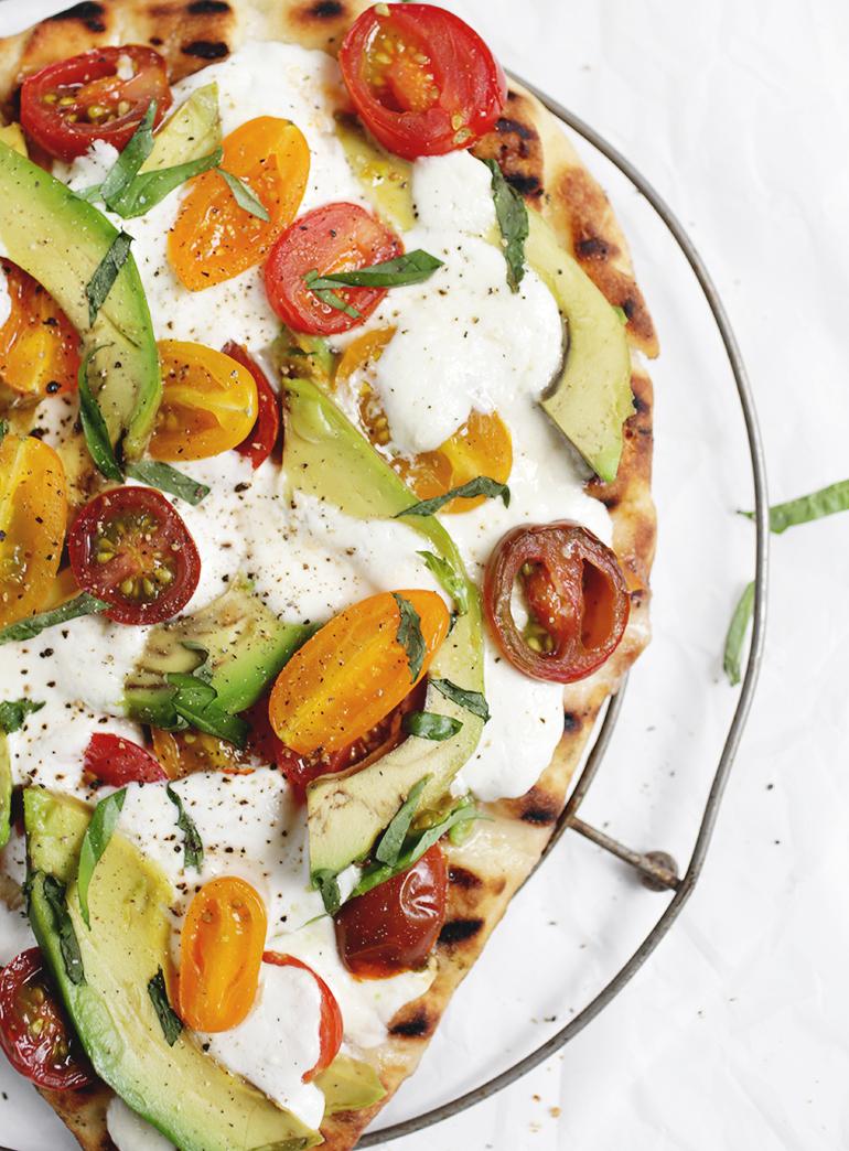 Tomato, Basil & Burrata Flatbread with Avocado @themerrythought