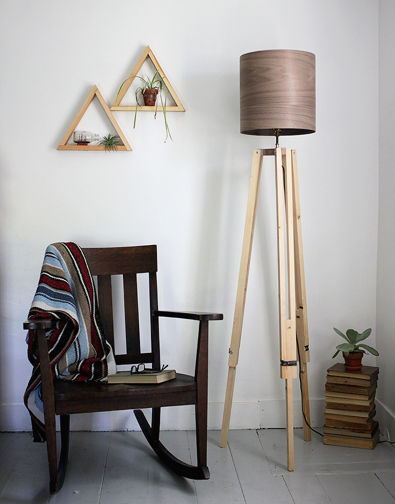 Diy tripod floor lamp the merrythought diy wooden tripod lamp with veneer lampshade themerrythought solutioingenieria Choice Image