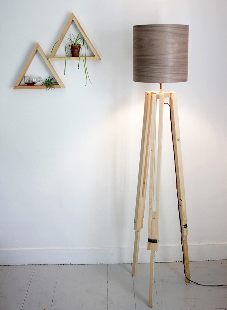 Diy tripod floor lamp the merrythought diy wooden tripod lamp with veneer lampshade themerrythought solutioingenieria Gallery