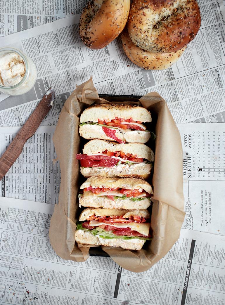 Veggie Bagel Sandwich @themerrythought