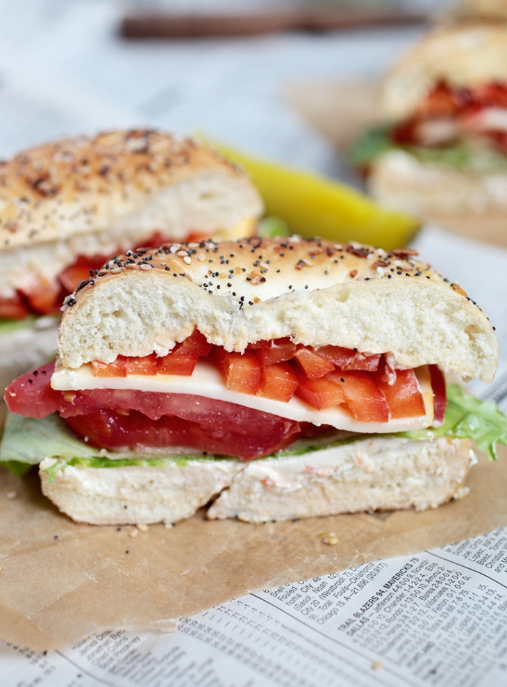 Veggie Bagel Sandwich @themerrythought