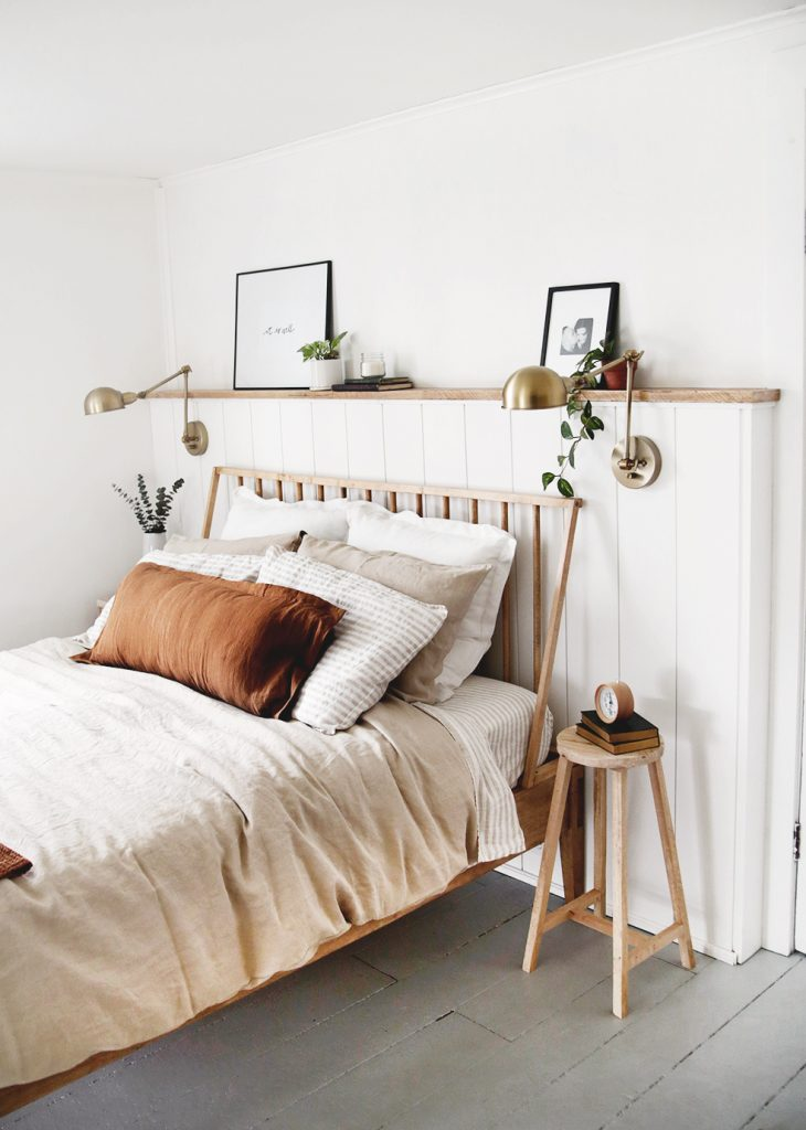 How to Make a DIY Vertical Shiplap Accent Wall with Shelf