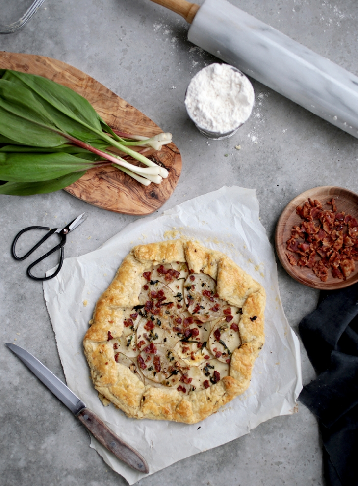 Wild Leek, Bacon, Feta and Potato Galette @themerrythought