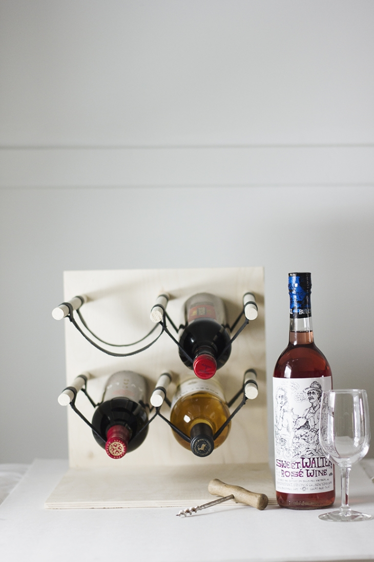 DIY Wood & Leather Wine Rack @themerrythought