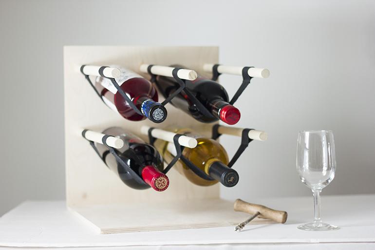 diy wood u0026 leather wine rack
