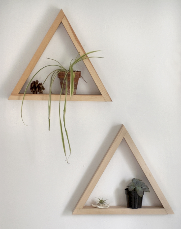 Diy wooden triangle shelves the merrythought - Triangular bookshelf ...