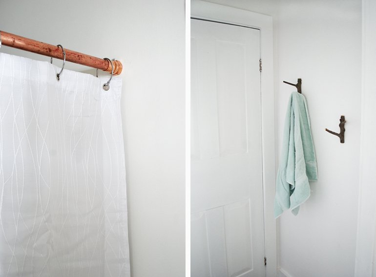 Copper Shower Rod And Branch Towel Hooks